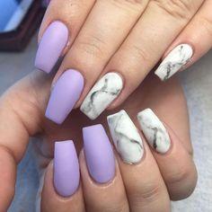 Matte lavender nails - Women Nails - Nail designs for the quince Matte Purple Nails, Purple Nail Art, Coffin Nails Matte, Pastel Nails, Red Nails, Lilac Nails Design, Marble Acrylic Nails, Acrylic Nail Designs, Lavender Nails