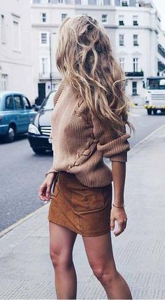 suede mini skirt. cable knit jumper. street style.