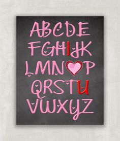 Baby Girl Nursery Decor Wall Art ABC Print I love You Print 8x10 UNFRAMED. The print, designed by me has beautiful pink typography and spells out I *heart* U on a chalkboard look background. 8x10 in size and comes unframed. Just waiting for a beautiful frame for girls room. A wonderful way to say Merry Christmas or for baby shower gift.