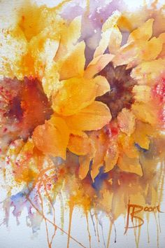 Sunflowers. Brusho. Joanne Boon Thomas Image 1   Art Tutor #watercolor jd