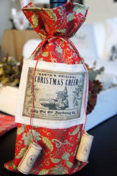 Christmas Wine Bottle Fabric Gift Bag