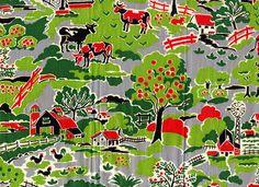 vintage fabric - farm