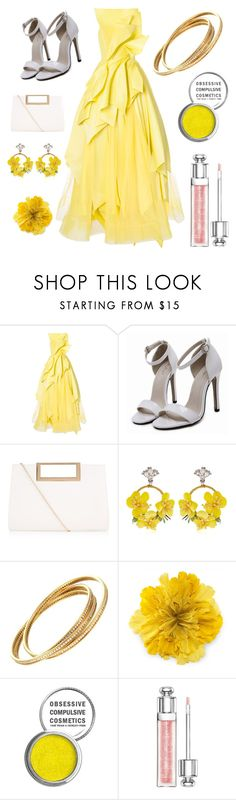 """yellow vibezzz"" by mirandacolby ❤ liked on Polyvore featuring Isabel Sanchis, New Look, VANINA, Cartier, Gucci, Obsessive Compulsive Cosmetics and Christian Dior"