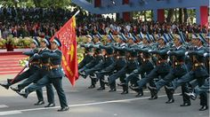 Officer-scholars of the Vietnamese Air Force academy marching down Le Duan street in Ho Chi Minh City at the 2015 Vietnam Reunification Day Parade.