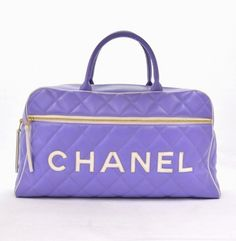 Chanel Purple Quilted Leather XL Jumbo CC Boston Travel Bag