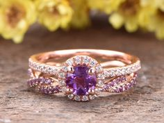 Amethyst Engagement Ring Set Rose Gold Twisted Infinity Wedding Band Diamond Halo Bridal Ring Set Solid white/ rose/yellow gold main ring: Solid Rose Gold Approx Band width: Round Cut VS Natural Amethyst Round Cut SI-H Natural conflict free diamonds Purple Engagement Rings, Deco Engagement Ring, Engagement Ring Settings, Morganite Engagement, Thin Diamond Band, Diamond Wedding Bands, Halo Diamond, Amethyst Wedding Rings, Purple Wedding Rings