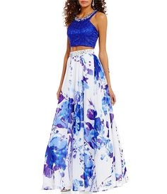 Masquerade High Beaded Neck Lace Crop Top Floral Skirt Two-Piece Long Dress $219