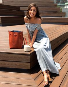 Olivia Culpo wearing a Self-Portrait Lace Shoulder Maxi Dress, a Mansur Gavriel Bag and Barbara Bui Shoes. #style #celebstyle