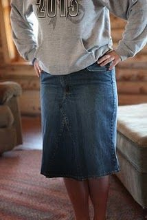 Jean skirt- how to make from a pair of jeans.. not totally confident in my own ability..... deeeeeear little sister....