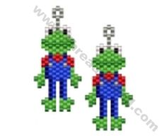 Frog in Dungarees Earring Bead Pattern By ThreadABead