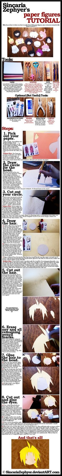 tutorial  paper figures  by sincariazephyer d32vnkw Kawaii Paper Anime/Manga heads Tutorial