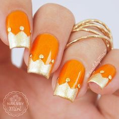 """Crown nail tips  [ Idea inspired by @nailsannagorelova ] I made this design for (Dutch) Kingsday! In The Netherlands we celebrate """"Kingsday"""", the birthday of our King on April 27th. Watch the tutorial on my YouTube  Colors: Sinfulcolors - Cloud 9 ✨Catrice - Goldbusters #kingsday #kingsdaynails"""
