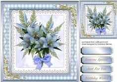 Lovely Blue Flowers on Fern 2 on Craftsuprint - View Now!