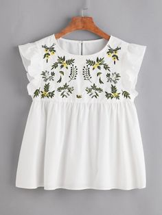 Flower Embroidered Buttoned Keyhole Ruffle Babydoll Top Only US$15.00