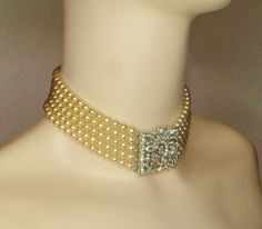 Kenneth J Lane Faux Pearl and Rhinestone Collar Necklace