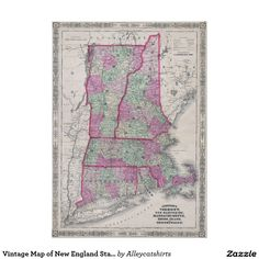 Vintage Map of New England States (1864) Poster