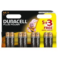 8 PACK 5 + 3 FREE DURACELL AA PLUS ALAKALINE BATTERIES EXPIRY 2024