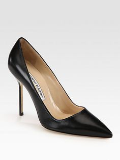 Manolo Blahnik BB Leather Point-Toe Pump - $681.23