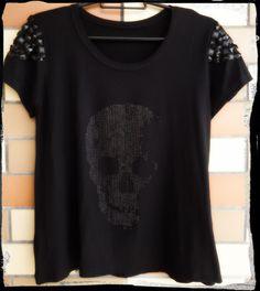 T-shirt Caveira mangas bordadas ♥ - Signorità