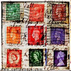 Old British postage stamps.