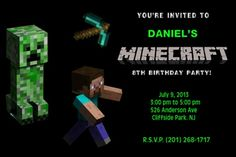 Printable - Personalized Minecraft Creeper Birthday Party Invitation