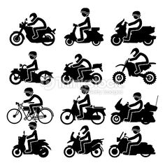 Vector Art : Motorcycle rider Icons set. Vector Illustration