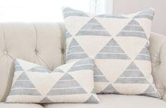 Zak and Fox Designer Uroko Pillow - Blue Pillow Cover - Geometric Throw Pillow - Modern Pillow - Neutral Pillow - Tribal