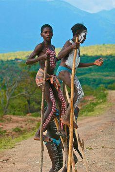 Children on stilts, Ethiopia (photo by Marti Brown)