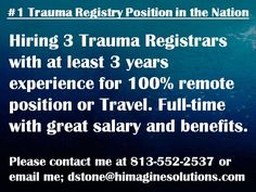 Now Hiring 3 Trauma Registrars! Healthcare Jobs, Trauma, Health Care, Positivity, Health, Optimism