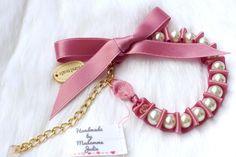 """BUY NOW!!! - Perlenarmband mit Satinschleife """"Pretty Rosé"""" - ein Designerstück von Madamme-Julie bei DaWanda"""