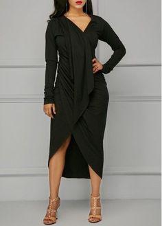V Neck Asymmetric Hem Black Draped Dress on sale only US$33.95 now, buy cheap V Neck Asymmetric Hem Black Draped Dress at liligal.com #partydress