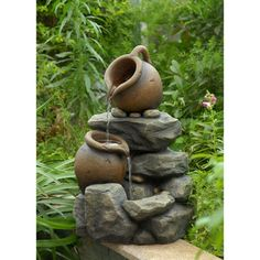 @Overstock - Small Pots Water Fountain - This small fountain features three levels of pouring water. Water gently cascades from one jar top to the next and ultimately pools into the bottom of this elegant electric fountain.  http://www.overstock.com/Home-Garden/Small-Pots-Water-Fountain/7527734/product.html?CID=214117 AUD              204.32
