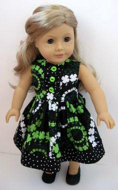 American Girl Doll Dress: Irish Shamrock Print Sleeveless Dress by ILuvmCreations on Etsy Sewing Doll Clothes, Sewing Dolls, Ag Dolls, Girl Doll Clothes, Doll Clothes Patterns, Doll Patterns, Clothing Patterns, Girl Dolls, American Girl Dress