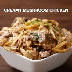 Creamy Mushroom Chicken Fettuccine 17 Easy Fettuccine Recipes You Can Make On A Weeknight Fettuccine Recipes, Pasta Recipes, Chicken Recipes, Cooking Recipes, Healthy Recipes, Pan Cooking, Crockpot Recipes, Chicken Fettucine, Fettucine Alfredo