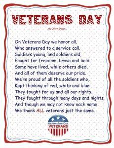 veterans day poem for preschool