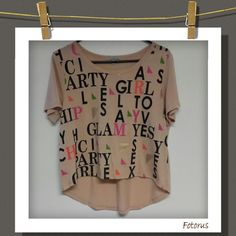 Shirt High-low graphic T-Shirt ..super cute        65% Polyester 35% Rayon      Charlotte Russe Tops Tees - Short Sleeve