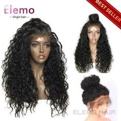 Elemo 360 Lace Frontal Wigs With Baby Hair Water Wave 100% Virgin Human Hair – Elemo Hair Curly Full Lace Wig, 360 Lace Wig, 360 Wig, Short Hair Ponytail, Sleek Ponytail, Permed Hairstyles, Straight Hairstyles, Lace Front Wigs, Lace Wigs