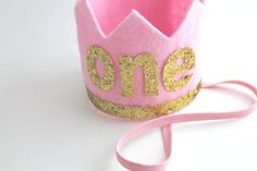 One felt crown pink and gold first birthday by JuliaGraceBoutique