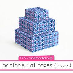 Printable flat boxes Bastienne blue 3 sizes par melimodello sur Etsy