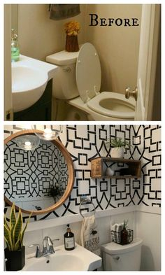 40 Wallpaper Transformations that will Blow you Away! - Nesting With Grace - Michelle Catalano - 40 Wallpaper Transformations that will Blow you Away! - Nesting With Grace 40 Wallpaper Transformations that will Blow you Away! - Nesting With Grace - Half Bathroom Decor, Diy Bathroom, Downstairs Bathroom, Bathroom Interior, Bathroom Ideas, Half Bathroom Wallpaper, Bathroom Organization, Bathroom Canvas, Bathroom Faucets