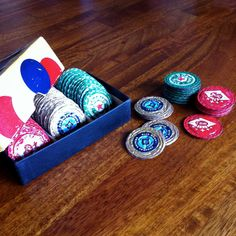 "One-Of-A-Kind Poker Chip Set Made From Up-Cycled And Hand-Flattened Beer Bottle Caps...I Bet You Could Also Use Pop Bottle Tops As Well So They Could Be More ""Kid Friendly""...Please Click On Picture..."