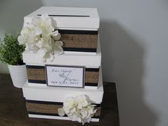 Wedding Card Box Modern Rustic 3 tiered with navy blue ribbon and burlap hydrangeas personalized tag You Customize Colors and Flowers. $82.00, via Etsy.