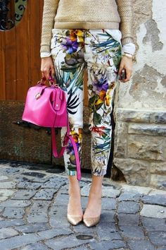 A great example of how to make printed britches office appropriate: a slim-cut pant with a ladylike heel and something tailored on top. Remember...when it comes to pants length - ankle, yes! Cropped, never!