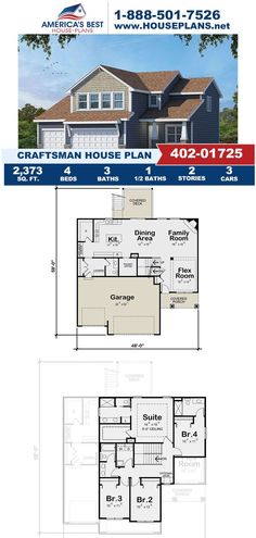 Covered in Craftsman details, Plan 402-01725 delivers 2,373 sq. ft., 4 bedrooms, 3.5 bathrooms, a covered deck, a vaulted owners suite, and a flex room. Learn about this Craftsman design and more on our website. Craftsman Style Homes, Craftsman House Plans, Flex Room, Architectural Elements, Square Feet, Floor Plans, House Design, How To Plan, Architecture