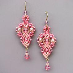 Pink Macrame Earrings  Micro Macrame Bead Earrings by glassdancer, $38.00