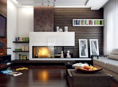 Built In - Bookcase Shelving - Modern Fireplace - Mantel Ideas - Living Room