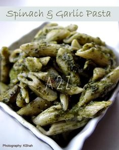 Spinach and garlic pasta with pesto - yum, this is good for St. Patty's Day, hahaa.