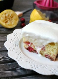 Lemon Cranberry Cake Recipe - this cake starts off with a boxed cake mix so it's really easy to make. A great party dessert and the frosting is delicious!