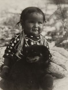 Native American Child with Dog, Photographed by Richard Throssel, circa 1910, gelatin silver print, MMOA