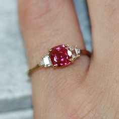 bc552718f Beautiful ruby diamond ring size 5 cushion cut ruby engagement ring in  yellow gold 3 stone diamond ruby ring july birthstone gemstone ring, size  (resizable) ...